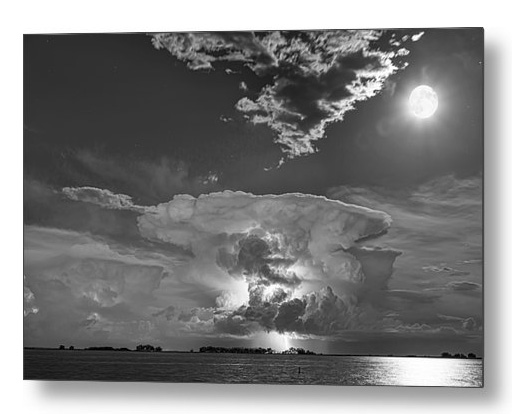 Mushroom Thunderstorm Cell Explosion And Full Moon Bw Metal Prin