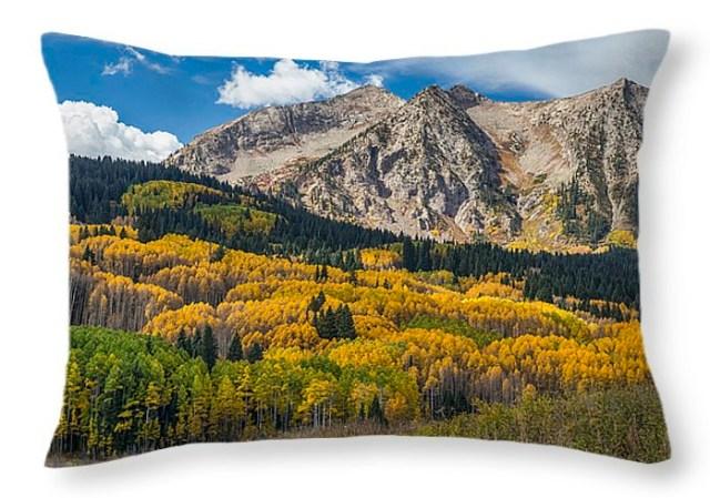 Rocky Mountain Autumn Season Colors Throw Pillow