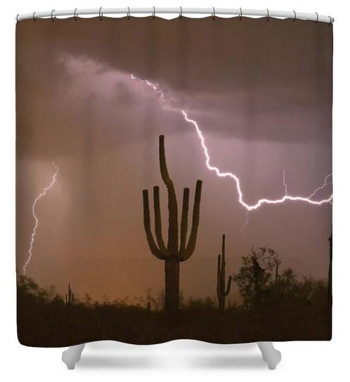Sonoran Saguaro Southwest Desert Lightning Strike Shower Curtain