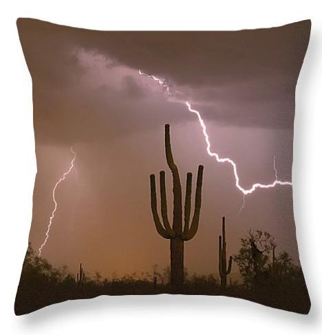 Sonoran Saguaro Southwest Desert Lightning Strike Throw Pillow