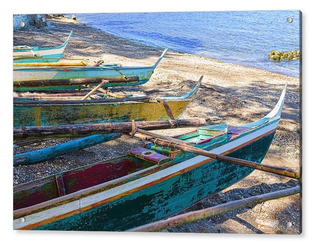 Group Of Fishing Palm Boats Acrylic Print