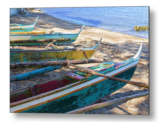 Group Of Fishing Palm Boats Metal Print