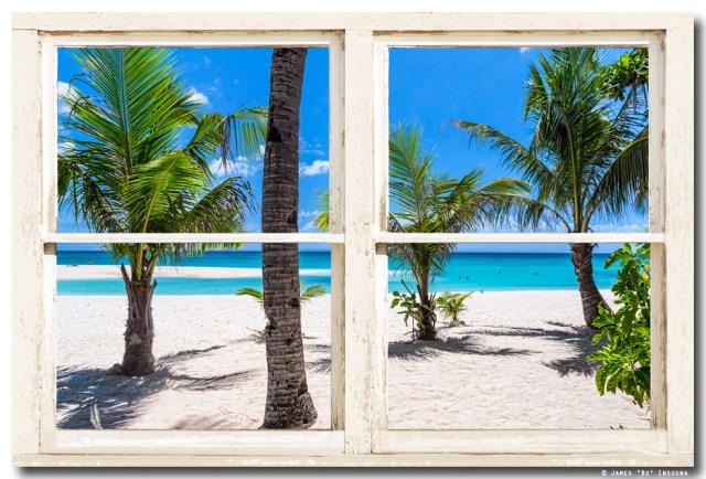 Tropical Island Rustic Window View