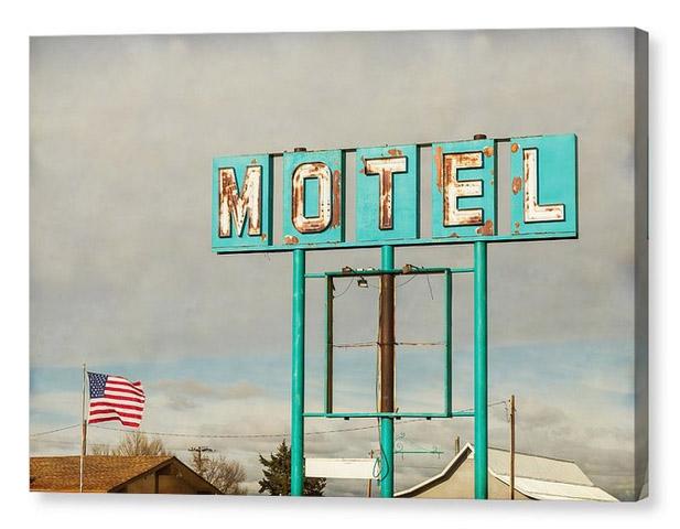 American Retro Motel Sign Canvas Print