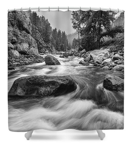 Colorado Black And White Canyon Portrait Shower Curtain