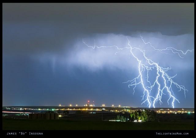 Northeast Colorado Lightning Strike and City Lights