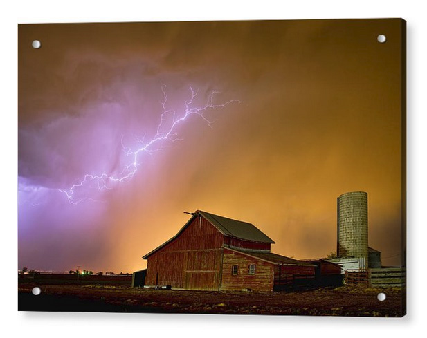 Watching The Storm From The Farm Acrylic Print