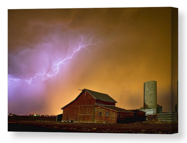 Watching The Storm From The Farm Canvas Print
