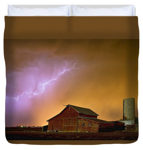 Watching The Storm From The Farm Duvet Cover