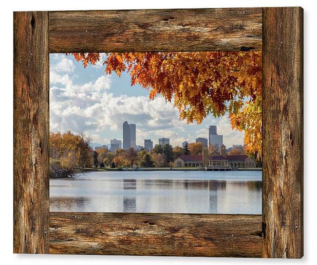 Denver City Skyline Barn Window View Acrylic Print
