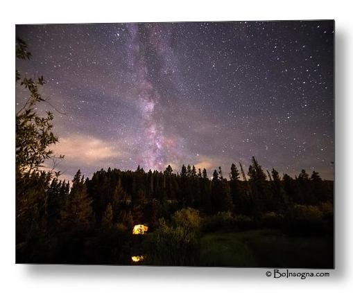 Camping Under Nighttime Milky Way Stars Metal Print