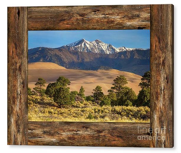 Rustic Wood Window Colorado Great Sand Dunes View Acrylic Print