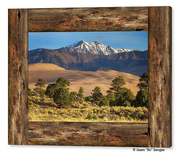 Rustic Wood Window Colorado Great Sand Dunes View Canvas Print
