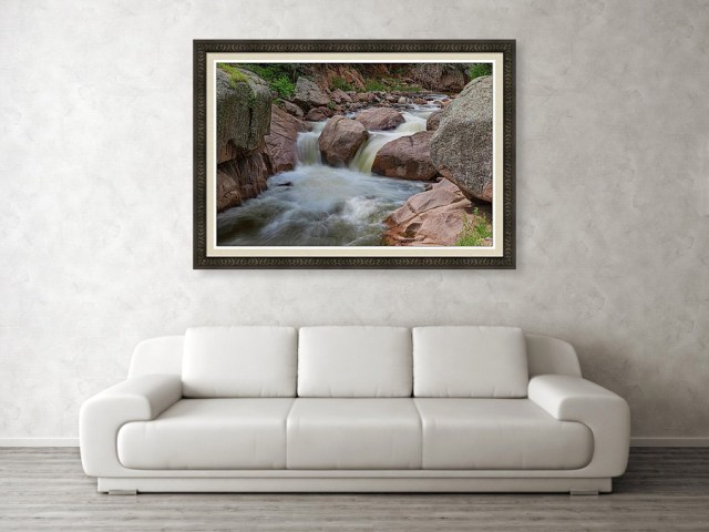 Double Waterfall Splashdown Framed Wall Art Print