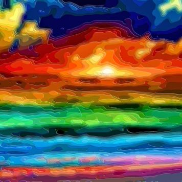 Layer Art Landscape Ocean Sunset
