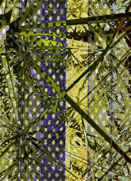 Abstract Cubic Tile Marsala Gunmetal Green