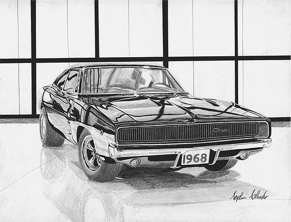 Black And Muscle Fine White Car Art Prints