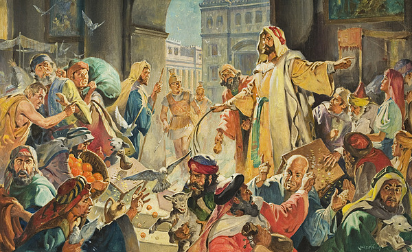 Jesus Painting - Jesus Removing The Money Lenders From The Temple by James Edwin McConnell
