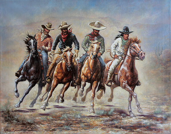 The Cowboys Painting By Harvie Brown