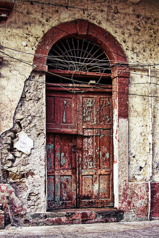 Old Door Art Print featuring the photograph Old door in Casco Viejo, Panama by Tatiana Travelways