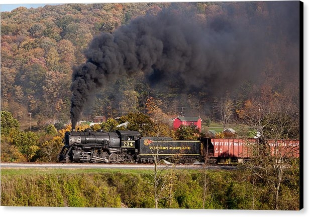 Recent sale on FineArtAmerica of a photo of a Western Maryland steam train puffing through the fall colors near Cumberland during a photography tour