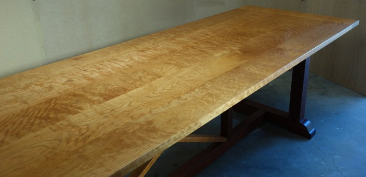 Cherry wood refectory table 2