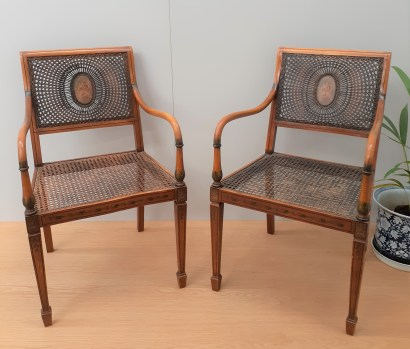 Neo-classical revival caned chairs 1