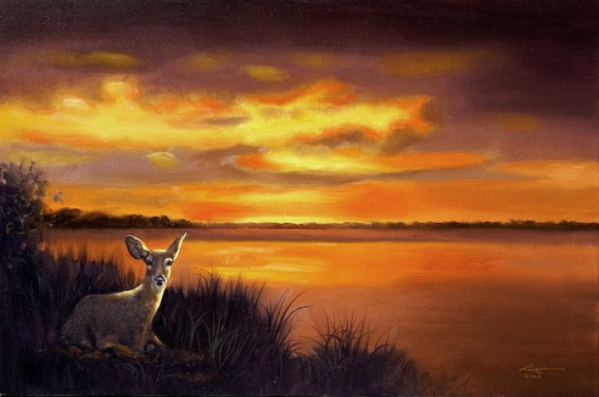 sunset-river-painting