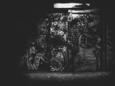 black and white graffiti photograph