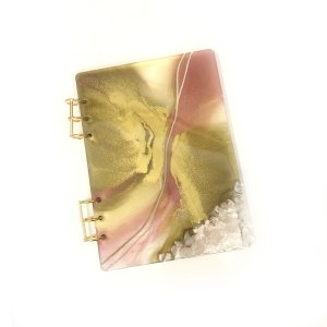 Pink and Gold Clear Quartz Journal