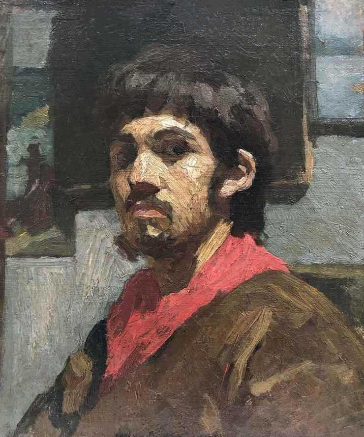 GALERIE TERRADES, Pascal DAGNAN-BOUVERET, Self-portrait with a red scarf