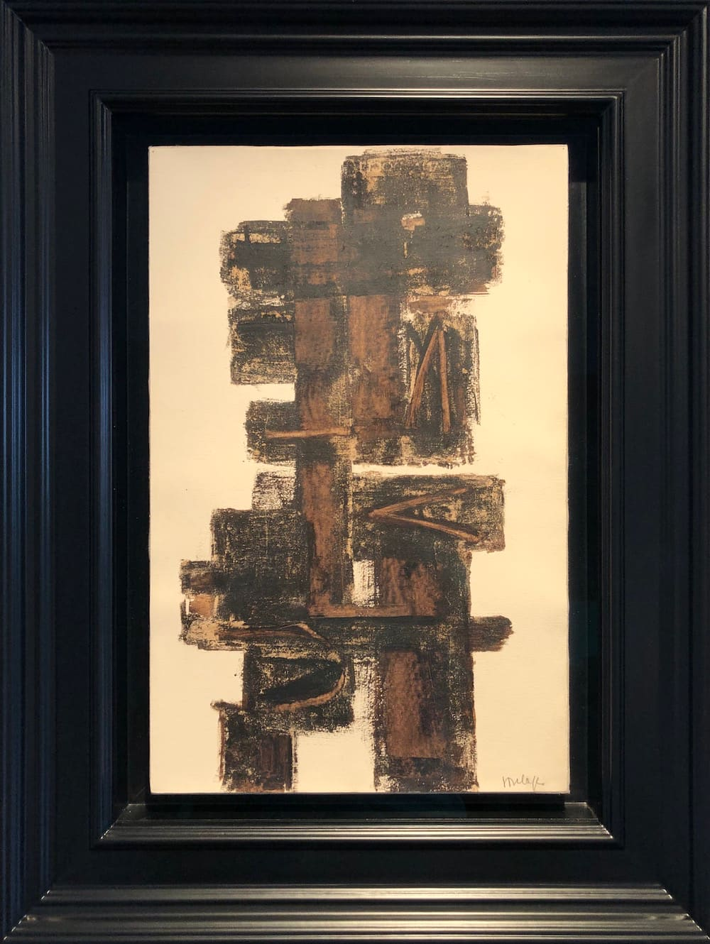 Pierre SOULAGES, Walnut stain on paper laid on canvas