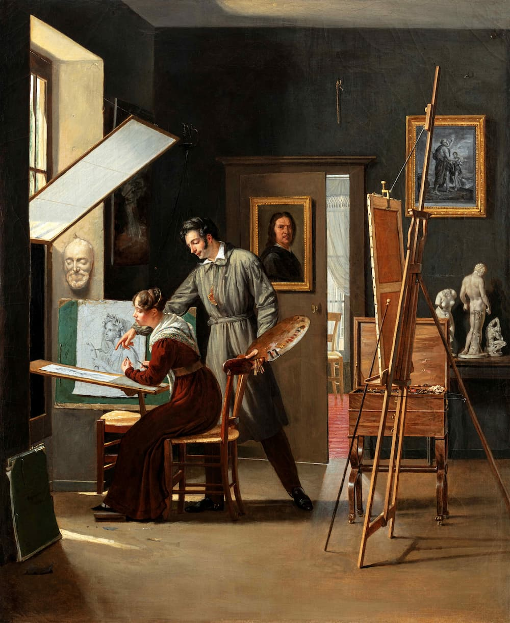 Paul Claude-Michel CARPENTIER, A painter in his studio giving advice to his young pupil