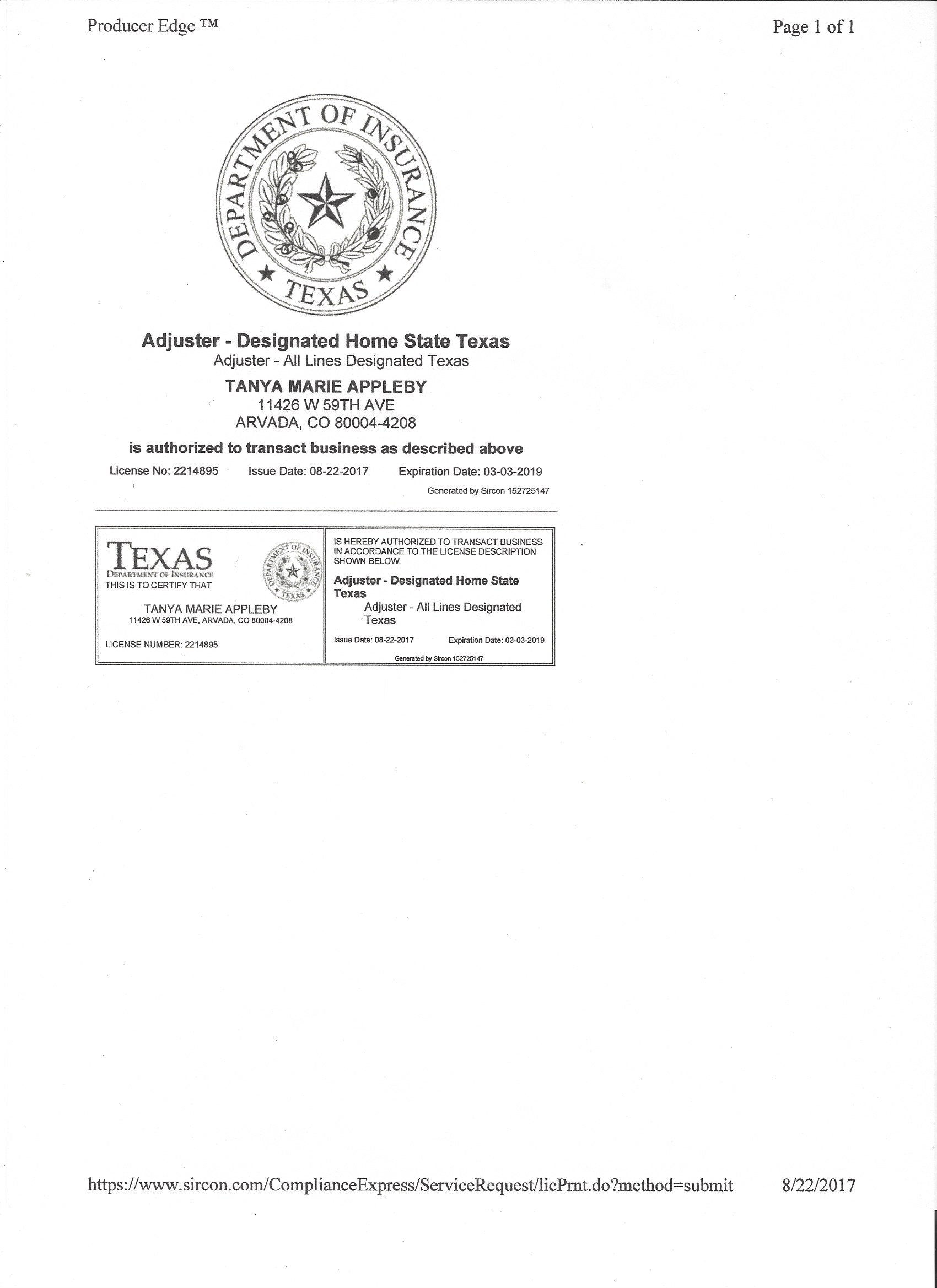 Texas All Lines License Png Fine Arts Insurance Consultants