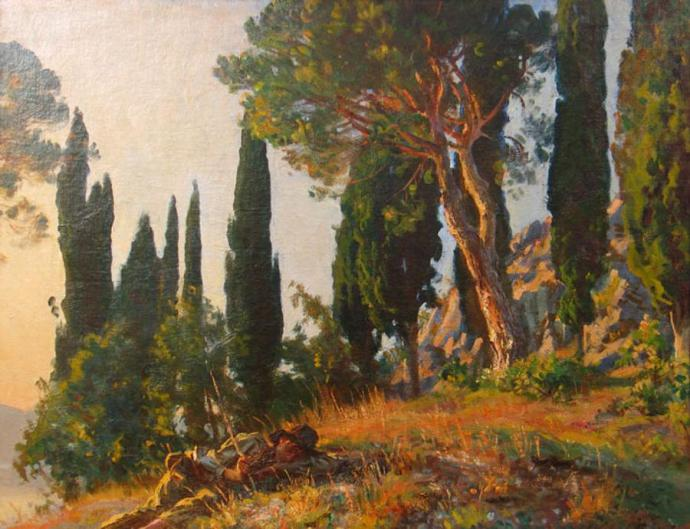 Singer Sargent Cypresses and Pines