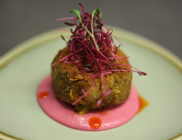 Lamb sweet bread shami kebab and beetroot goat curd chutney Fine dining Indian Chef Consultancy