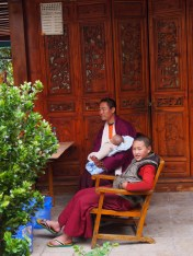 A woman walked in and handed her baby to the monk, so she could go light incense and pray. It was really sweet.