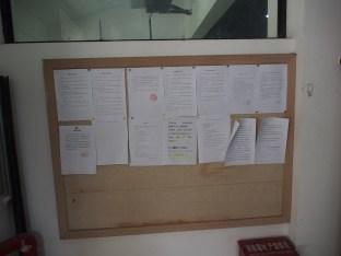Refectory notice board.