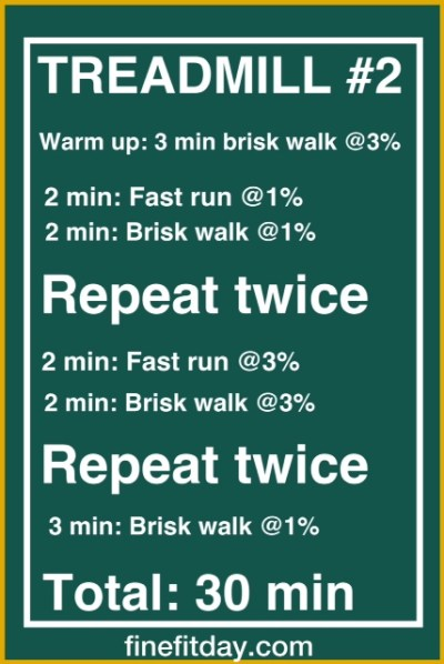 Three treadmill workouts - workout #2