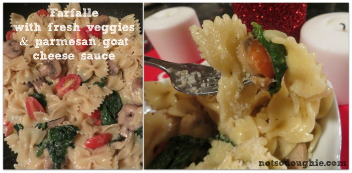Farfalle with fresh veggies and parmesan goat cheese sauce