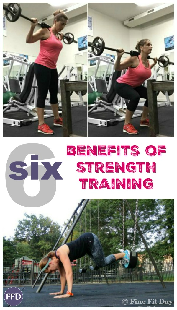 6 Awesome Benefits of Strength Training - especially for women. Want to know why strength training is considered one of the best things you can do for your body? From fat loss, to self esteem and body image (as well as all the medical benefits), this article outlines why you should be resistance training and how to start. And if you're new to lifting weights, bodyweight training is a good place to start your strength training routine - workouts are listed at the end!