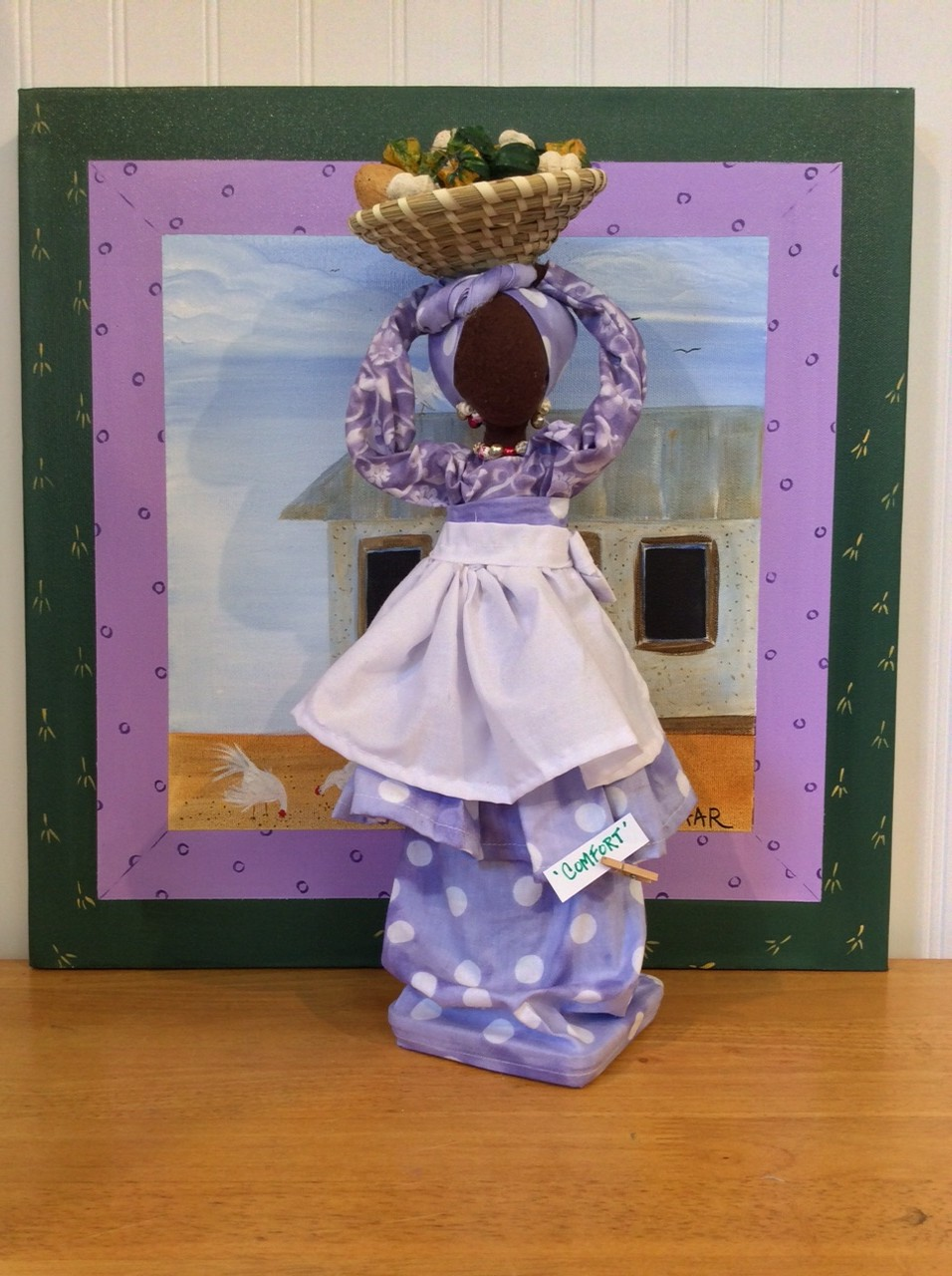 'Comfort' Original Genya Gullah Bottle Doll backdrop Roosters House II GL Quilt Sq