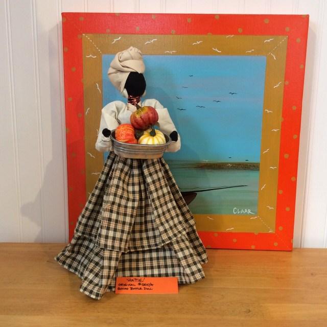 """Hattie - a Genya Gullah Bottle Doll / background:  """"Solitude"""" a GL Quilt Sq."""