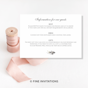foliage wedding details cards Australia