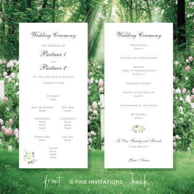 floral wedding ceremony cards Australia