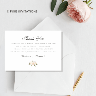 floral wedding thank you cards Australia