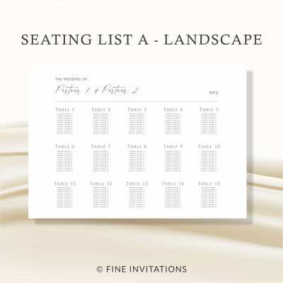 modern script wedding seating
