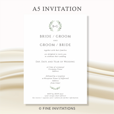 classic olive leaves wedding invitations