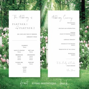simple modern wedding program cards