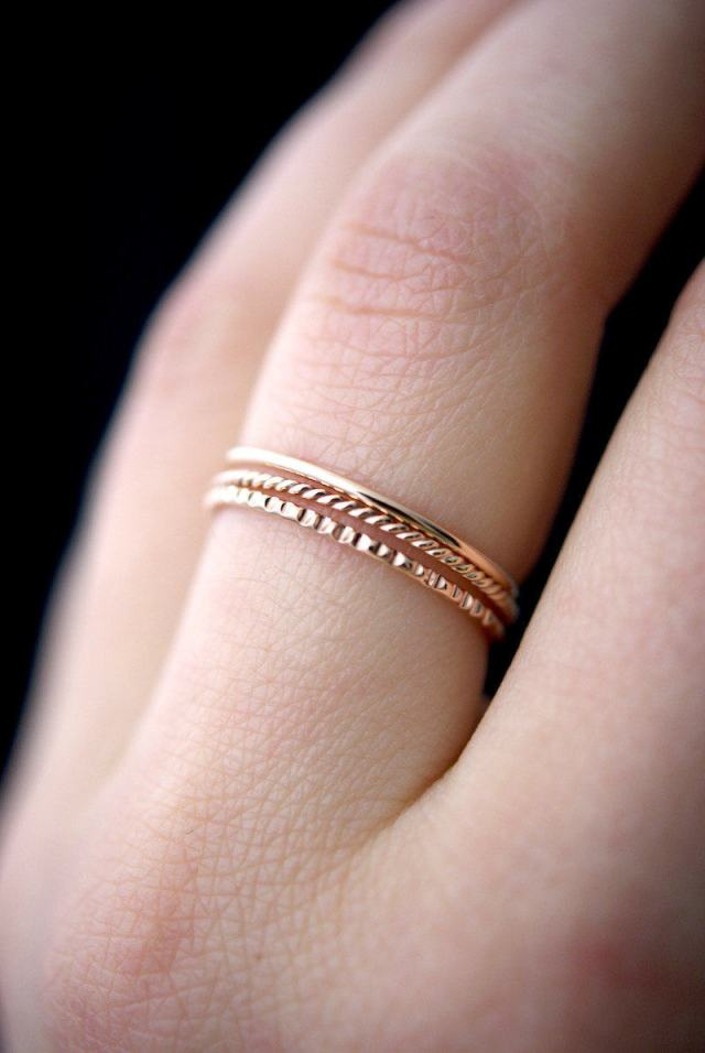 941241179ae42 SOLID Rose Gold Mixed Texture stacking ring set, 14k rose gold stack ...